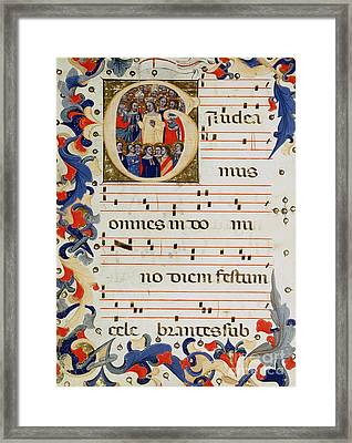 Page Of Musical Notation With A Historiated Letter G Framed Print by Italian School
