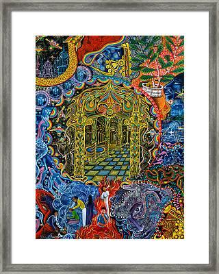 Pagoda Dorada Framed Print by Pablo Amaringo
