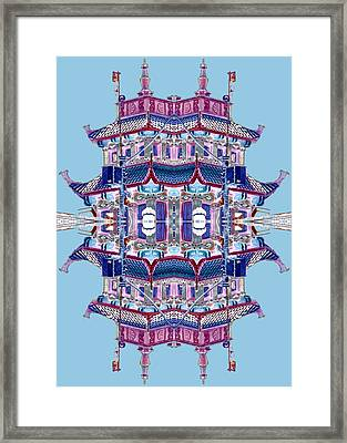 Framed Print featuring the photograph Pagoda Tower Becomes Chinese Lantern 2 Chinatown Chicago by Marianne Dow