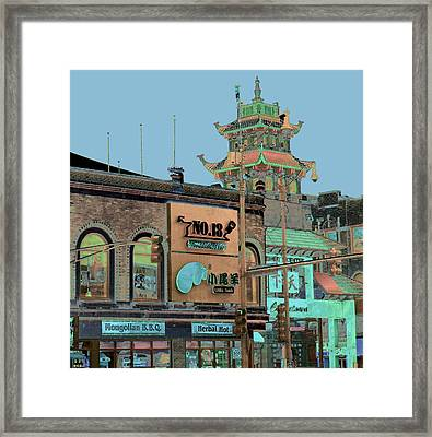 Pagoda Tower Chinatown Chicago Framed Print by Marianne Dow
