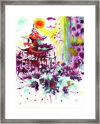 Framed Print featuring the painting Pagoda by Zaira Dzhaubaeva