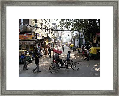 Pahar Ganj Rickshaw Framed Print by David L Griffin