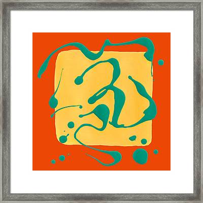 Paint Dance Yellow Square On Orange Framed Print