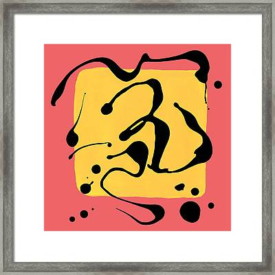 Paint Dance Yellow Square On Pink Framed Print by Amy Vangsgard