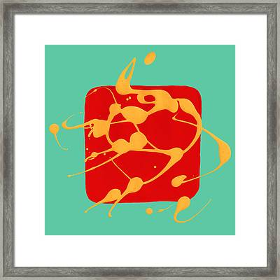Paint Dance Yellow Square On Teal Framed Print by Amy Vangsgard