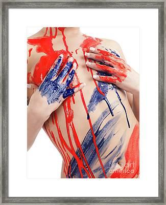 Paint On Woman Body Framed Print by Oleksiy Maksymenko