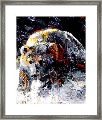Paint Splashed Grizzly Abstract  Framed Print