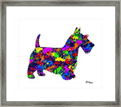 Paint Splatter Scottish Terrier Framed Print