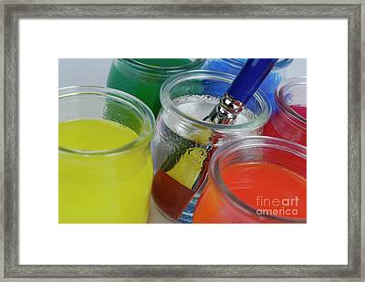Paintbrush In Water Amongst Multi-colored Glasses Framed Print by Sami Sarkis
