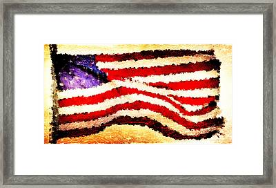 Painted American Flag Framed Print by Andrea Barbieri