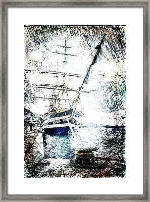 Painted Amerigo Vespucci Framed Print by Andrea Barbieri