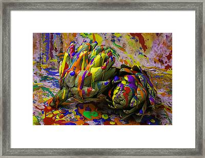 Painted Artichokes Framed Print