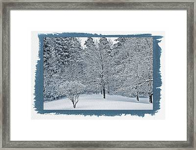 Framed Print featuring the photograph Painted Cyanotype Fresh Snow Scene by Aimee L Maher Photography and Art Visit ALMGallerydotcom