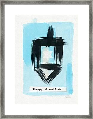 Painted Dreidel Happy Hanukkah- Design By Linda Woods Framed Print