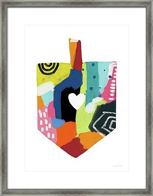 Framed Print featuring the mixed media Painted Dreidel With Heart- Art By Linda Woods by Linda Woods