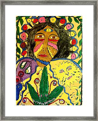 Painted Face Framed Print by Betty  Roberts