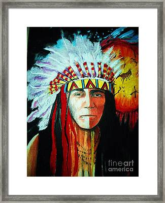 Painted Face Warrior Framed Print