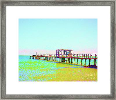 Painted Fishing Pier Framed Print by Chris Andruskiewicz