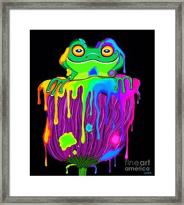 Framed Print featuring the digital art Painted Flower Frog  by Nick Gustafson