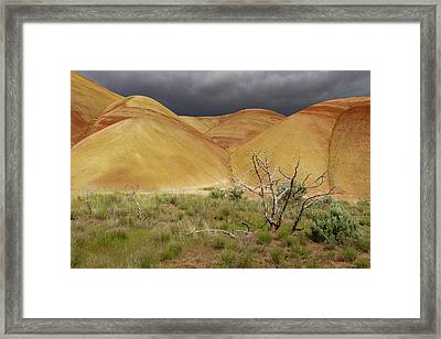 Painted Hills Storm Clouds Framed Print by Jean Noren