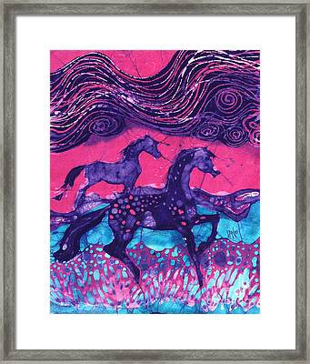 Painted Horses Below The Wind Framed Print