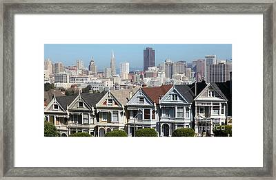 Painted Ladies Of Alamo Square San Francisco California 5d27996  Panoramic Framed Print by Wingsdomain Art and Photography