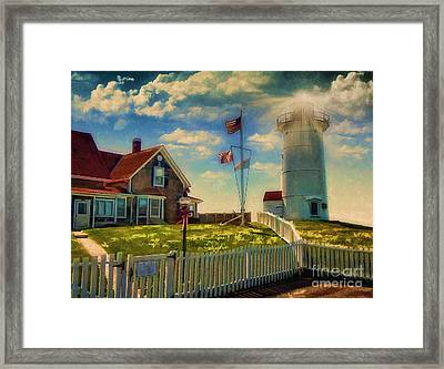 Painted Nobska Lighthouse On Cape Cod Framed Print