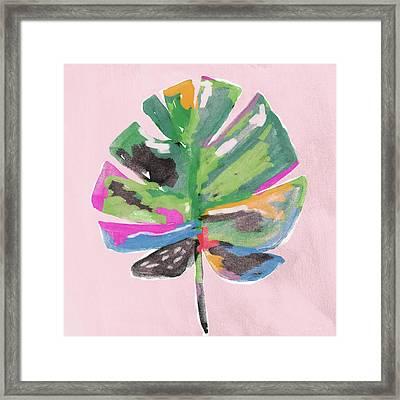 Painted Palm Leaf 2- Art By Linda Woods Framed Print by Linda Woods