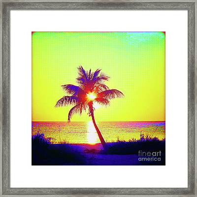 Painted Palm Sunset Framed Print by Chris Andruskiewicz