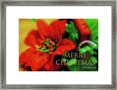 Framed Print featuring the photograph Painted Poinsettia Merry Christmas by Sandy Moulder