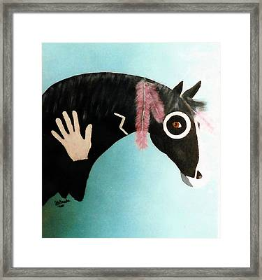 Painted Pony With Feather Framed Print by Joseph Frank Baraba