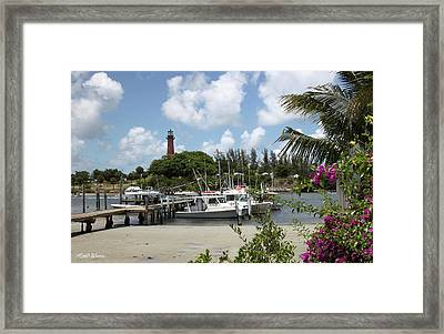 Painted Red Around 1910 Jupiter Inlet Lighthouse Florida Framed Print by Michelle Wiarda