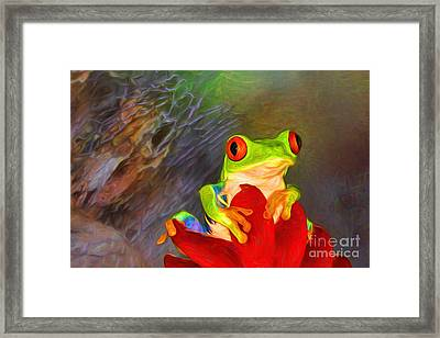 Painted Red Eyed Tree Frog Framed Print