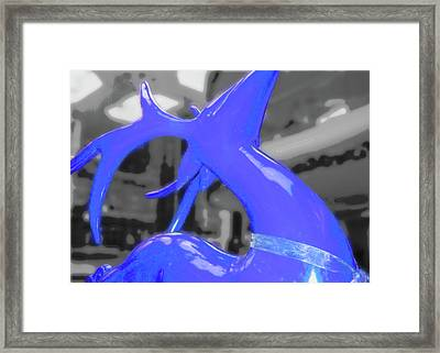 Painted Reindeer Blue Framed Print by JAMART Photography