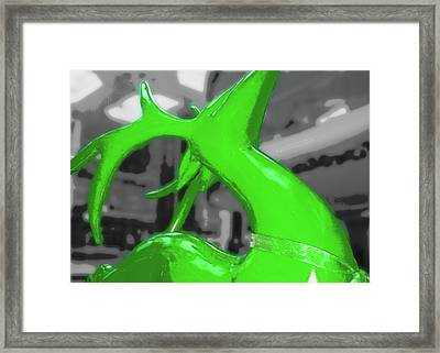 Painted Reindeer Green Framed Print by JAMART Photography