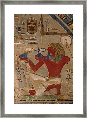 Painted Relief Of Thutmosis IIi Framed Print by Kenneth Garrett