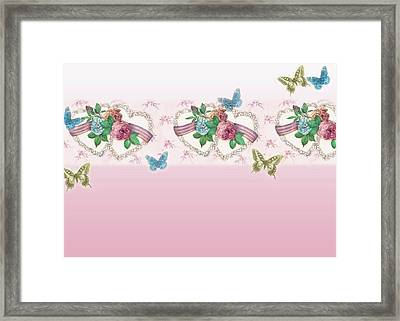 Painted Roses With Hearts Framed Print