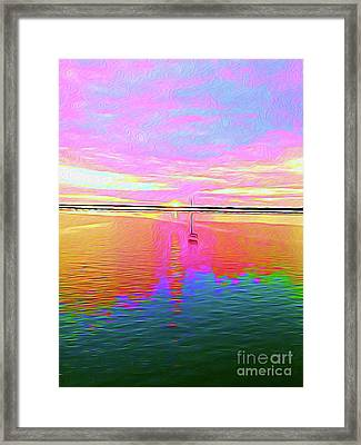Painted Sailboat Sunset Framed Print by Chris Andruskiewicz