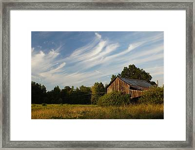 Painted Sky Barn Framed Print by Benanne Stiens