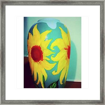 Painted Sunflowers On A Huge Vase Framed Print
