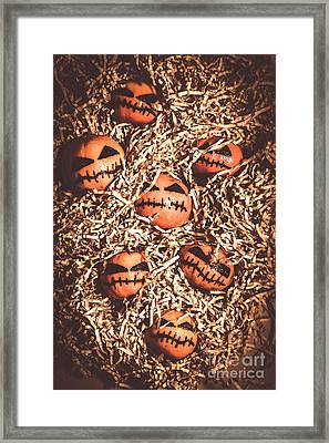 painted tangerines for Halloween Framed Print