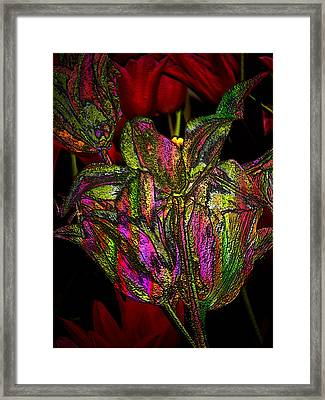Framed Print featuring the photograph Painted Tulips by Irma BACKELANT GALLERIES