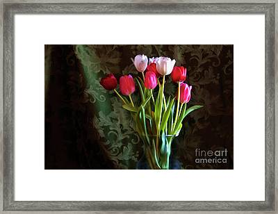 Painted Tulips Framed Print by Joan Bertucci