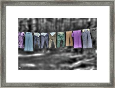 Painted Washline In Plymouth Nh Framed Print