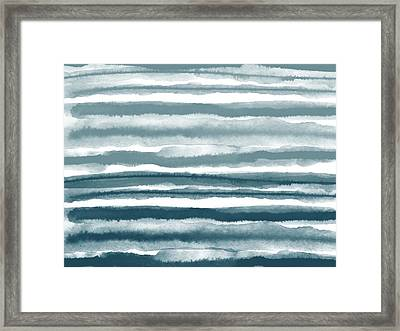 Painterly Beach Stripe 1- Art By Linda Woods Framed Print