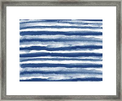 Painterly Beach Stripe 3- Art By Linda Woods Framed Print