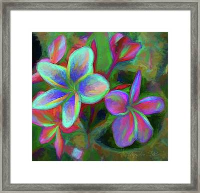 Painterly Frangipanis Framed Print