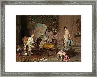 Painters In The Studio With Nude Model Framed Print by Francesco Beda