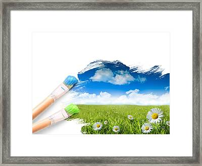 Painting A Landscape With Blue Sky Framed Print by Sandra Cunningham