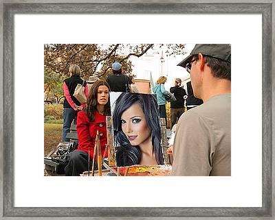 Painting Glamour Framed Print by John S Lushenko